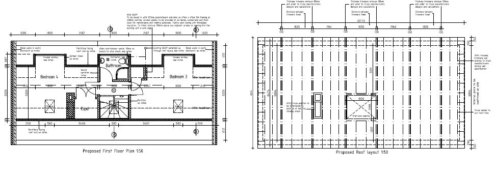 Architectural plans for a loft conversion.